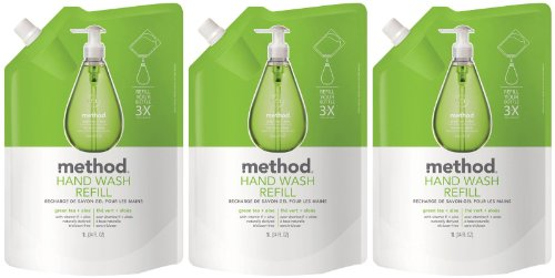 Method Gel Hand Wash Refill Pouch, Green Tea + Aloe, 34oz, 3pk (Refill Pouch)