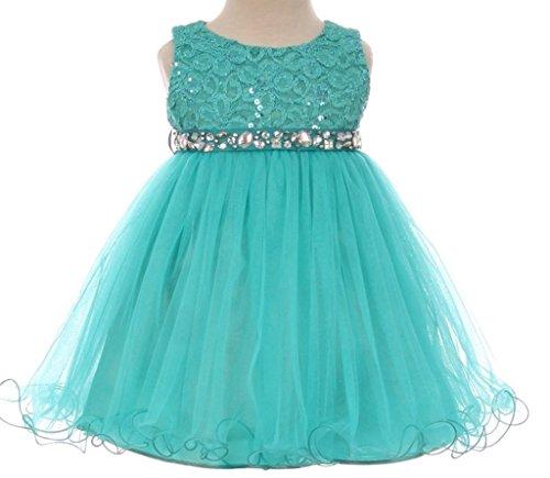 Baby Flower Girl Dress Lace Bodice Crystal Tulle Bottom Jade L MBK 340B