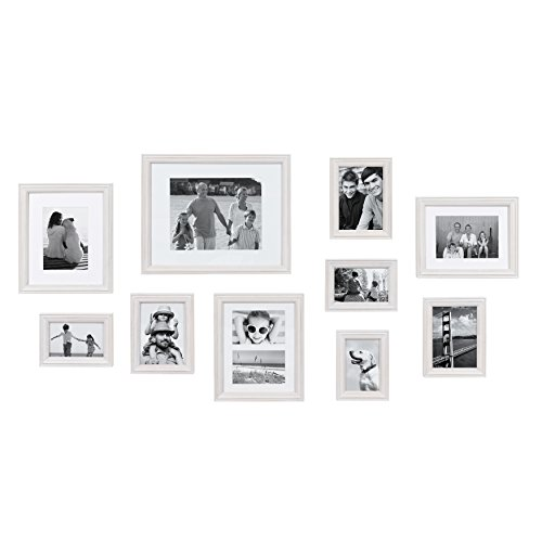 Kate and Laurel Bordeaux Modern Gallery Wall Kit, Set of 10 with Assorted Size Frames with White-Wash Finish