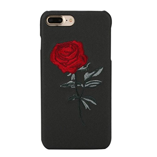 Price comparison product image IPhone 8 / 7 Plus Case , Transer Creative Embroidery Rose Soft TPU Protective Case Cover For IPhone 8/7 Plus 5.5 Inch (Black)