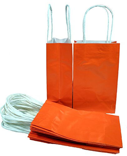 Creative Hobbies Bright Glossy Orange Small Paper Gift Handle Bags, 5.25