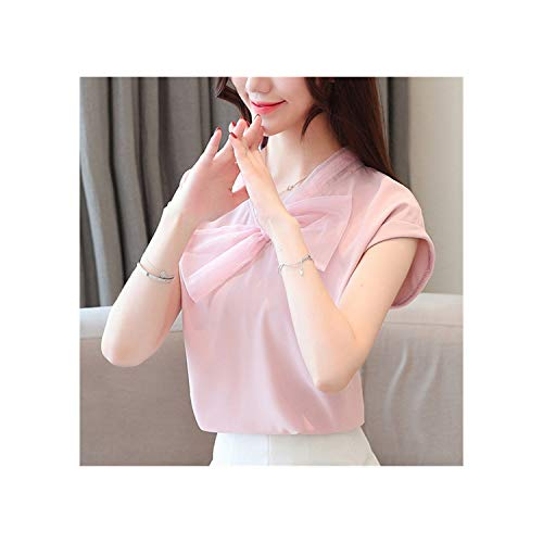 2019 New Summer Women Blouses and Chiffon Flare V K Clothing Casual Office Lady Shirt Fashion Wild Asian Style,Pink,M