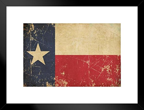 Poster Foundry Flag of Texas Old Scratched Aged Vintage Art Print Matted Framed Wall Art 20x26 inch