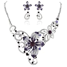 Ever Faith Crystal Enamel Summer Orchid Flower Necklace Earrings Set Purple