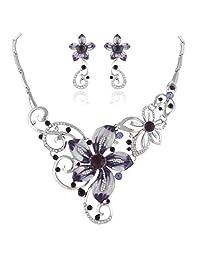 Ever Faith Enamel Orchid Flower Necklace Earings Set Austrian Crystal