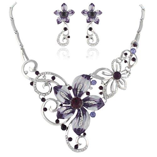 EVER FAITH Women's Austrian Crystal Enamel Orchid Flower Necklace Earings Set Purple Silver-Tone