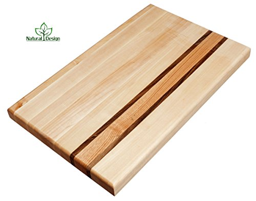 Cutting Board 16 x 10 x 1.2 inches Edge Grain Chopping Wood: Maple, Walnut and Red Oak Hardwood Extra Thick Appetizer Serving Platter Durable & Resistant ... (16x10 in. Maple, ()