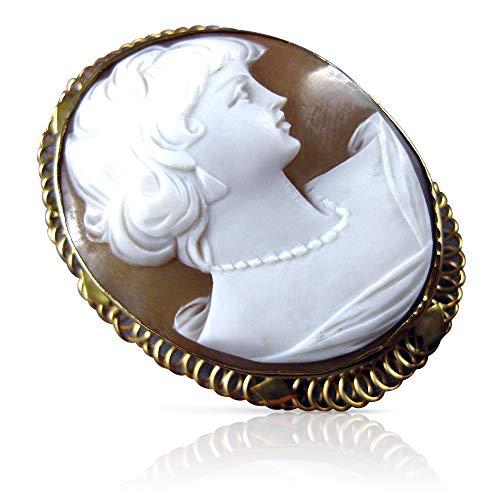 Milano Jewelers Large 14K Yellow Gold 3D Lady Cameo Filigree Pendant Brooch PIN #21882