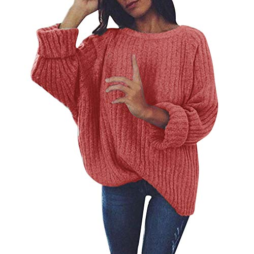 CUCUHAM Women's Knitted Deep O-Neck Long Sleeve Wrap Front Loose Sweater Pullover Jumper(Red,XX-Large) ()