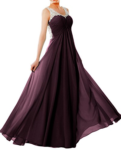 Prom Formal EveningBall MACloth Plum Women Gown Neck Straps Lace Dress V Long Chiffon v0qzv