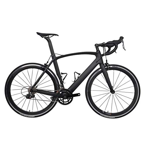 FidgetGear 52cm AERO Carbon Frame Road Bike 700C Alloy Wheel Clincher Fork seatpost V Brake Glossy ()
