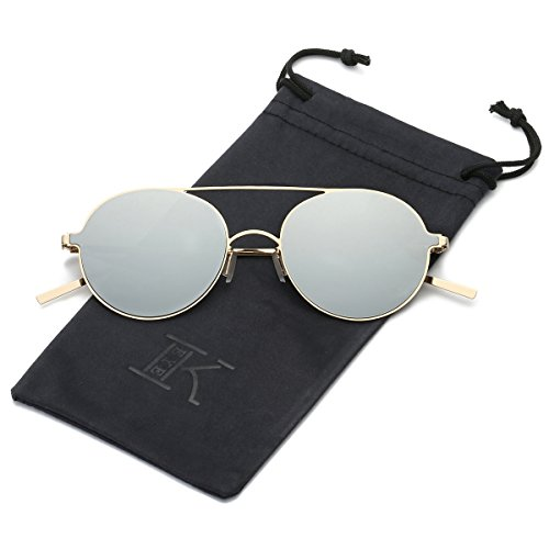 LKEYE Ultra-Light-Thin Sunglasses Unisex Round Style Small Memory Metal Frame LK1711 Gold Frame Silver - Woman Zara Sunglasses