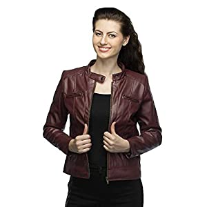 Comfort Zonee Trendy & Stylish Maroon PU Leather Jacket for Women and Girls