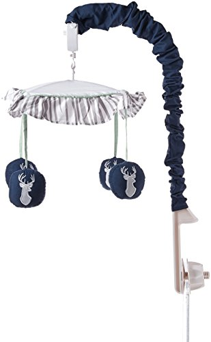 Sweet Jojo Designs Musical Baby Crib Mobile for Navy, Mint and Grey Woodsy Deer Boys Collection by Sweet Jojo Designs