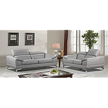 Cortesi Home Vegas Genuine Leather Sofa U0026 Loveseat Set With Adjustable  Headrests, Grey
