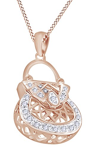 White Natural Diamond Handbag Purse Hip Hop Pendant in 14k Rose Gold Over Sterling Silver (0.20 Cttw) by AFFY