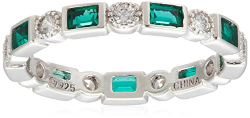 Platinum-Plated Sterling Silver Created Emerald All-Around Band Ring set with Swarovski Zirconia Accents, Size 6