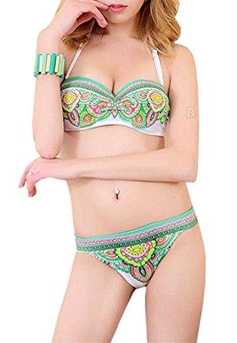 B Dressy Stylish Sexy Women Brazilian Retro Floral Print Tank Bathing Suit Bikini, Green,Medium,Aspicture