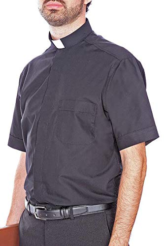 VGI Short-Sleeved Italian Clergy Shirt (17.5) (Collar Shirt Italian Cotton Dress)