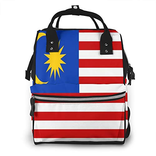 Malaysia Flag Diaper Bag Backpack Waterproof Multi-Function Baby Changing Bags Maternity Nappy Bags Durable Large Capacity for Mom Dad Travel Baby Care