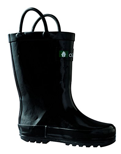 (OAKI Kids Rubber Rain Boots with Easy-On Handles, Jet Black, 1Y US Little)