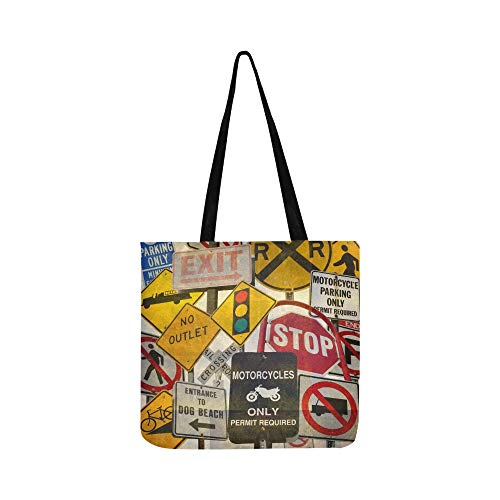 Price comparison product image Aged Vintage Collage Traffic Signs Stock Photo Canvas Tote Handbag Shoulder Bag Crossbody Bags Purses For Men And Women Shopping Tote