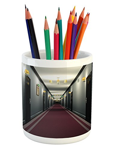 Cheap  French Pencil Pen Holder by Ambesonne, Fancy Hotel Corridor Building Inside Classic..