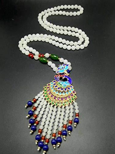 (Natural Beautiful White Jade Beads Hand-Woven Phoenix Shape Pendant Necklace)