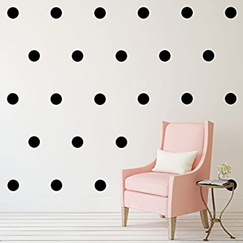 """Black Polka Dots Wall Decals (6""""- 32 Decals) Removable Peel And Stick Matte Finish Vinyl Décor Stickers. 4 Sheets of 6 Inch Circles. For Home, Kitchen, Living Room, Bedroom, And Nursery. - Polka Dots Teen Bedroom"""