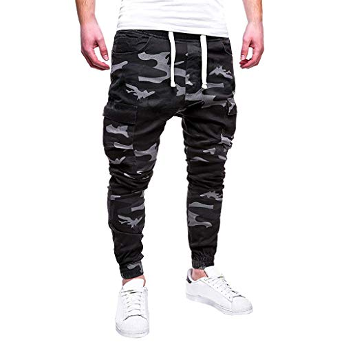 WOCACHI Mens Sweatpants Sport Camouflage Lashing Casual Loose Drawstring Pants Jogger Pants Elastic Trousers Skinny Track Fitness 2019 Spring Under 15 Deals July 4th Boyfriend Best -