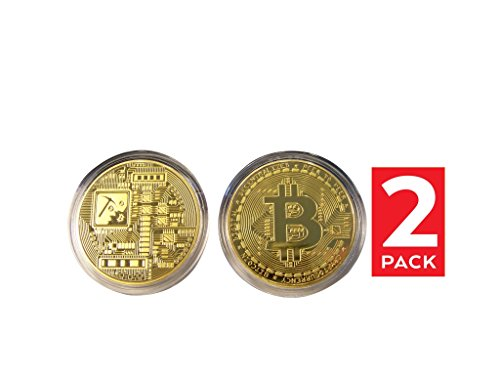 Bitcoin Coin Deluxe Collector's Set | 24kt Gold Plated Limited Edition Original Commemorative Tokens by Dhahab | Each Coin Comes w/ Acrylic Round Display Case (Double Gold)