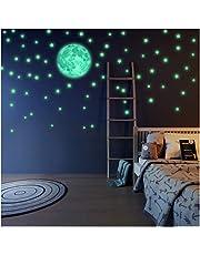 Luminoso Pegatinas de Pared Luna y Estrellas, Fluorescente Decoración de Pared para Dormitorio de Niños, DIY Decoración de la Habitación Para Chico Niña Bebé, Casa Interior Mural, 221 Pzas