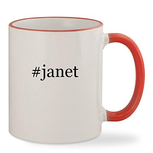 #janet - 11oz Hashtag Colored Rim & Handle Sturdy Ceramic Coffee Cup Mug, Red