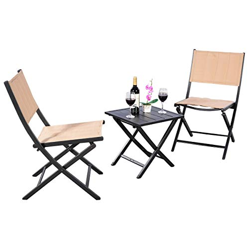 3pcs Steel Textilene Folding coffee table 2 chairs set Bistro Garden Furniture by Apontus