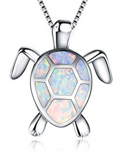 Fortonatori Created White Opal Necklace Turtle Smart 925 Silver Pendant Necklace 18'' Chain by Fortonatori