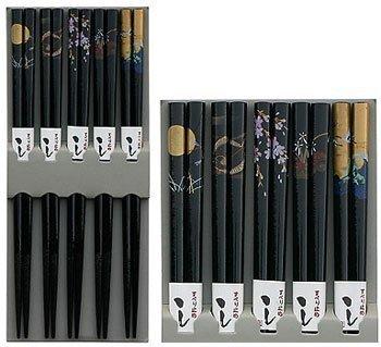 Happy Sales HSCH85/S, Bamboo Chopsticks Gift Set Crane Design, Scenery Black