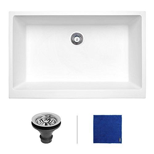 Enbol 32 inch Farmhouse Apron Deep Undermount Single Bowl Granite Kitchen Sink White GAS-3221