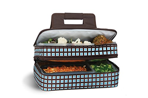 ermal Insulated Hot and Cold Pot Luck Food Carrier with Bonus Containers by Picnic Plus Blue Oyster ()