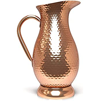 DRINKING WATER YOGA AYURVEDA 100/% PURE COPPER ART MUGHAL JUG PITCHER TRADITIONAL