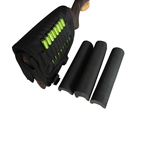 (TOURBON Hunting Shooting Right Side Rifle Cartridge Holder Buttstock Cheek Rest -Black)