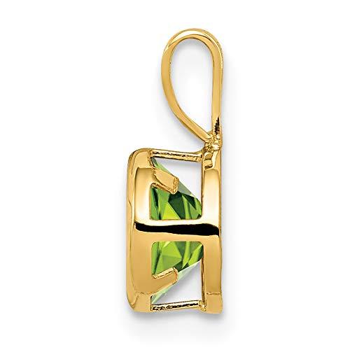 Gem Wt 14k Yellow Gold 6mm Peridot bezel pendant 0.9ct