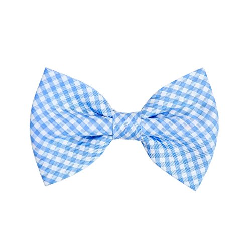 THE DOK Blue Gingham – Dog Cat Pet Bow Tie Bowtie Collar Accessory 4 inch