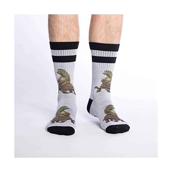 Good Luck Sock Men'S Tortoise And The Sloth Crew Socks - Grey, Adult Shoe Size 8-13 -