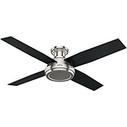 Hunter 59247 Dempsey Low Profile Brushed Nickel Ceiling Fan With Remote, 52""