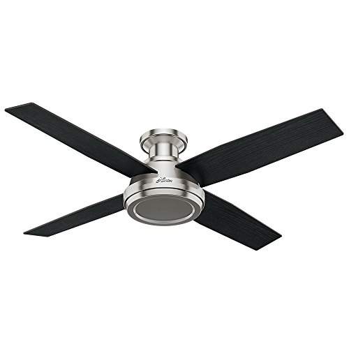 Quiet ceiling fans amazon hunter 59247 dempsey low profile brushed nickel ceiling fan with remote 52 mozeypictures Gallery
