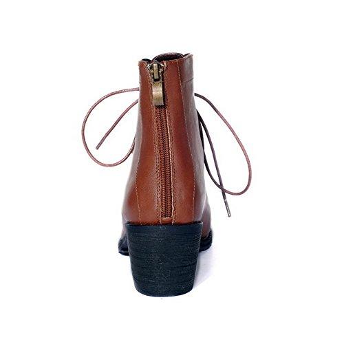 AgooLar Womens Low-Top Zipper Soft Material Kitten-Heels Round Closed Toe Boots Brown bkcvG1M