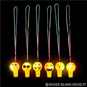2 LED LIGHT UP FLASHING EMOJI WHISTLES EMOTICON GOODY BAG PARTY FAVORS CARNIVAL