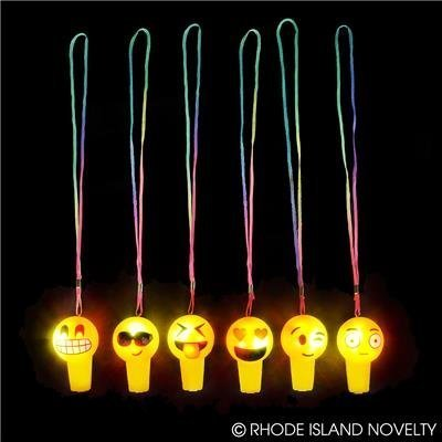(24) EMOJI Light up Whistle Necklaces ~ 3'' Emoticon Necklace ~ Party Favors ~Teacher Prize ~ Secret Santa ~ Giveaway ~ Birthday Goody Bag Fillers ~ Fair Prize ~ Gag Toy (Adult Halloween Birthday Party)