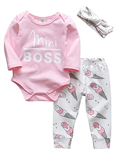 JELLYKIDS Mini Boss Baby Girl Clothes Newborn Baby Girl Long Sleeve Romper + Ice Cream Trousers + Headband Outfits Set Size 12-18 Months/Tag90 (White)