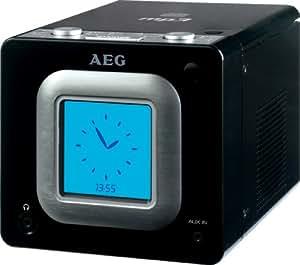 AEG SRC 4325 - Radio despertador (Reproductor MP3-CD, sintonizador UKW, 2x 15 W PMPO) color negro